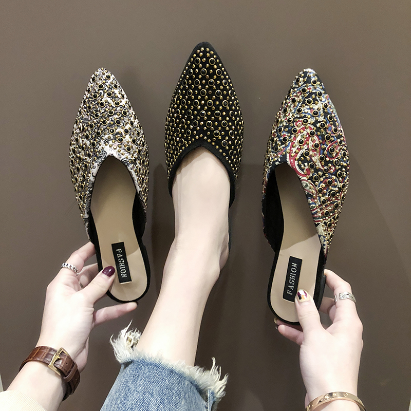 Closed Pointed Toe Trendy Girls Slippers Out of doors Crystal Low Heels Style girls slippers Mules Sneakers Zapatillas de mujer Slippers, Low cost Slippers, Closed Pointed Toe Trendy Girls...