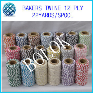 12pcs/lot (total 240meter) 20 kinds color choose cotton Bakers twine (22yards/spool)for gift packing by china post free shipping