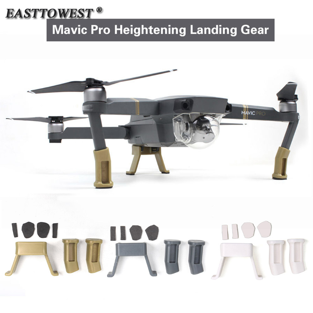 Easttowest For DJI Mavic Pro Heightened Landing Gear Accessories kit 2pcs Leg Extension + 1pcs Body Support + 4pcs Soft Pads