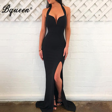 Bqueen 2017 Nuevo Sexy Deep V Backless Floor Length Mermaid Lady Dress  elegante Halter otoño mujeres vendaje vestido de fiesta V.. 68da78d9afbd