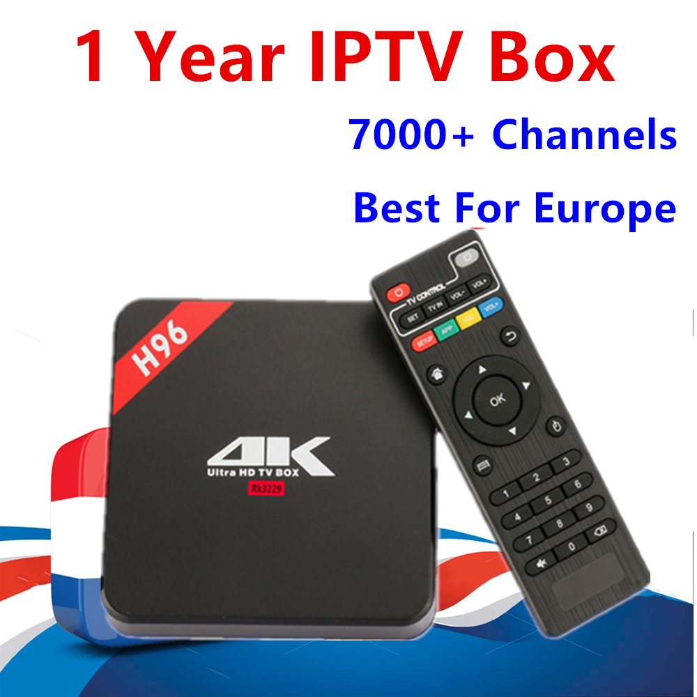 Europe IPTV Box H96 Android TV Box 8.1 1GB/8GB With 1 year iptv subscription Spain French Sweden Dutch Live TV for smart tv box