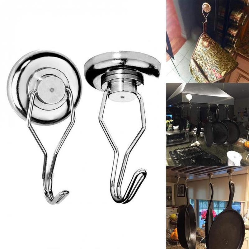 Heavy Duty Magnetic Storage Hooks Rotary Permanent Strong Magnet Hanging Hanger Kitchen Tool Rack Key Holder Home Organizer Hook