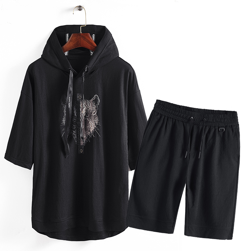 Shorts Set new personality animal print hoody knit tracksuits men sweatshirt pants set joggers sets size M-3XL ...