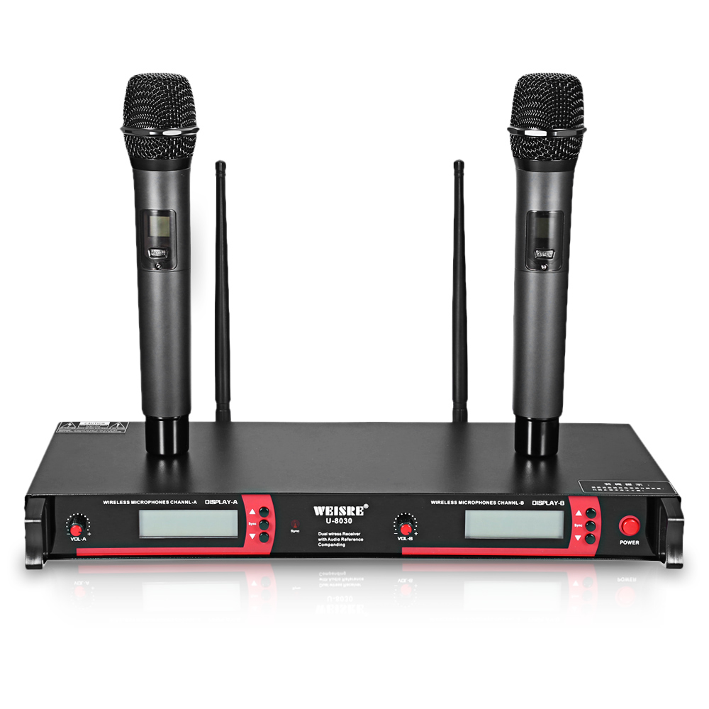 WEISRE U-8030 Professional Dual Channel UHF Wireless Microphone 740-790MHz Set 2 Mic+1 Receiver+ 2 Antenna+1 Pair Rack Mount Kit