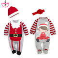 2016 Christmas Baby Boys Girls Rompers Costume Kids Clothes Long Sleeve Spring Children Christmas Infant Clothing Set Top+Hat