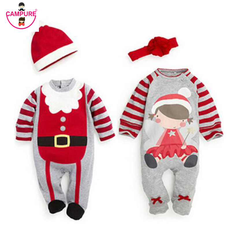 2017 Christmas Baby Boys Girls Rompers Costume Kids Clothes Long Sleeve Rompers Children Christmas Infant Clothing Set Top+Hat 2017 new boys clothing set camouflage 3 9t boy sports suits kids clothes suit cotton boys tracksuit teenage costume long sleeve
