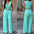 2017 High Waist Long elegant jumpsuit Club Wear Fashion Sleeveless women rompers overalls Vintage romper combinaison femme