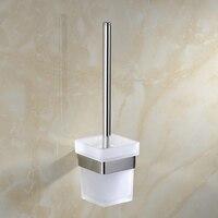 Closet Bowl Toilet Brush Holder Cup Mug Hanger Rail Shelf Rack Glass Long Handle Wall Mounted Set
