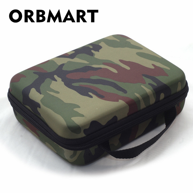 ORBMART Camo Storage Sport Camera Case Portable Collection Bag For GoPro HD Hero 4 3 2 Xiaomi Yi SJCAM SJ4000 SJ7000 Accessories