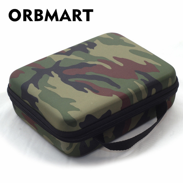 ORBMART Camo Storage Sport Camera Case Portable Collection Bag For GoPro HD Hero 4 3 2 Xiaomi Yi SJCAM SJ4000 SJ7000 Accessories