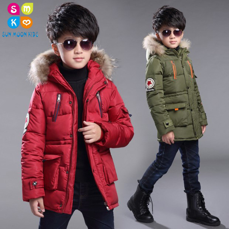 New 2018 Children Winter Jacket For Boys Fashion Fur Hooded Thick Cotton-Padded Boy Long Coat Parka Kid Clothes Outwears шина tigar cargo speed winter 205 75 r16 110 108r