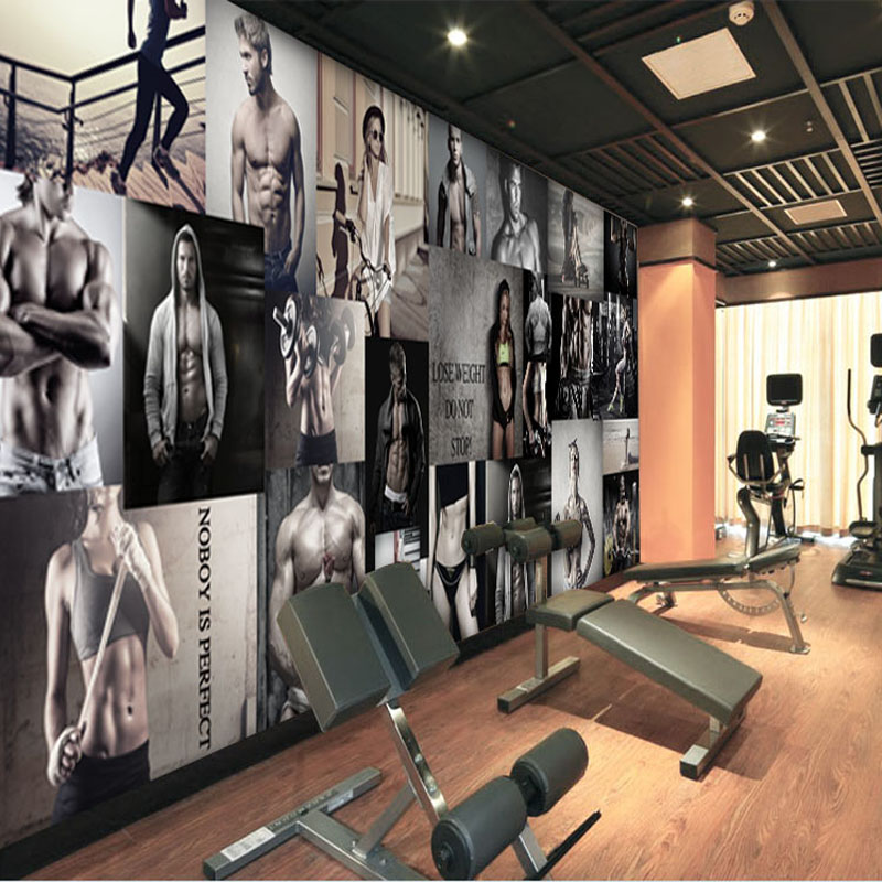 Customize 3D body building physical exercise Oversized Wall murals for