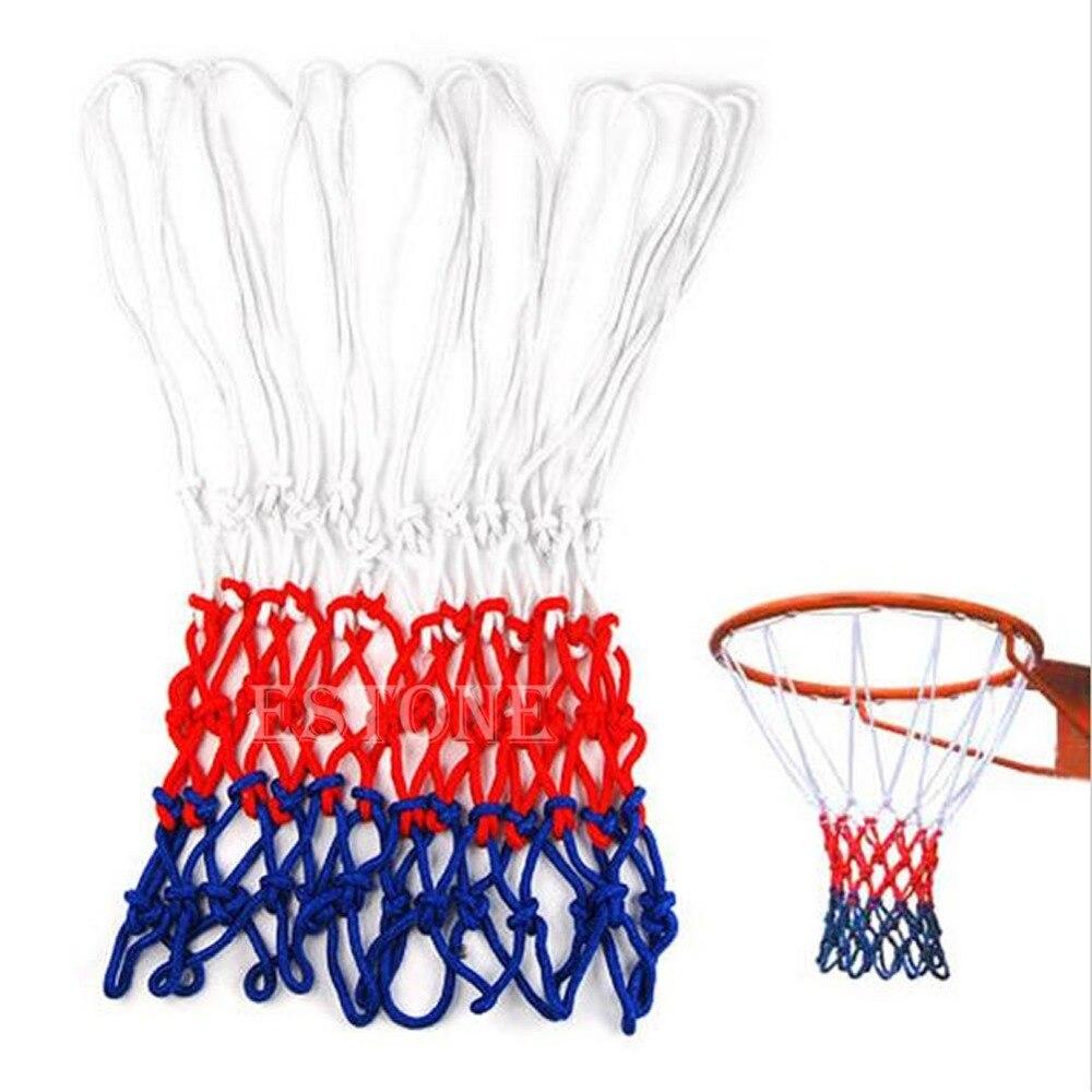 Standard White/Red/Blue Nylon Basketball Netball Goal Hoop Net Netting Sports