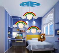 Новый милый Цвет Радуга облако подвесной светильник дерево лампа Освещение Детские Спальня fairyland детский сад