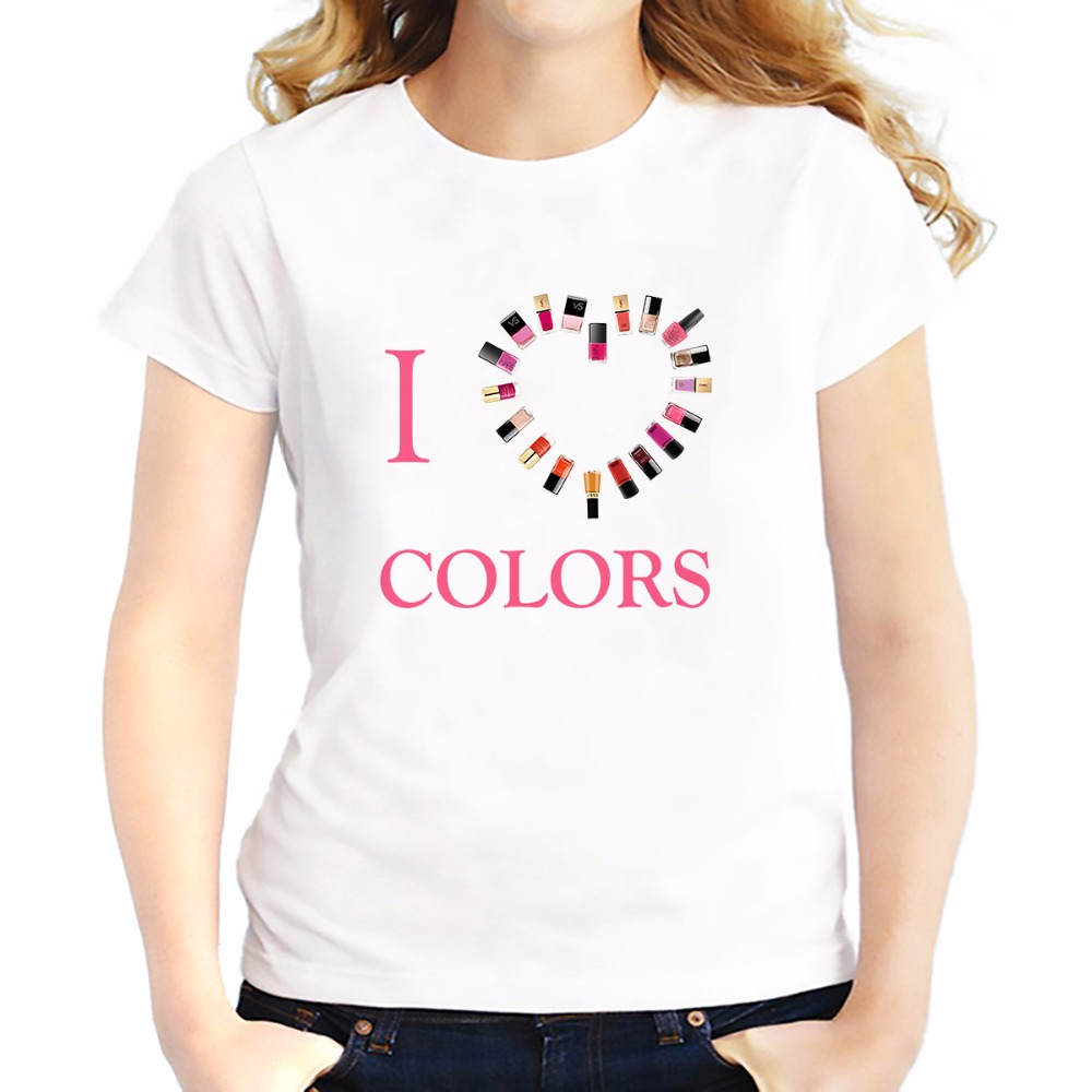 i love colors makeup t shirts feminina jollypeach brand new summer Tees shirt soft casual tshirt