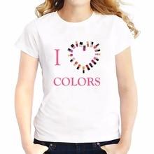 i love colors makeup t shirts feminina jollypeach brand new summer Tees shirt soft casual tshirt Short Sleeve T-Shirts femme