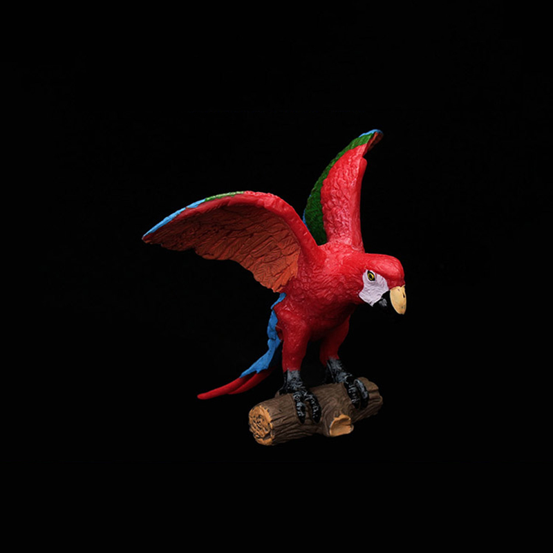 10cm Macaw Parrot Spreading Wings Standing On Wood Birds Models Gifts Toys