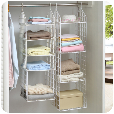 Creative Home Closet Organizer Plastic Folding Storage Shelving Hook