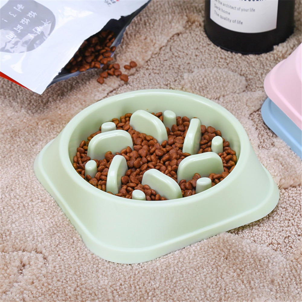 Pet Slow Eating Dog Bowl Slow Feeder Dog Food Bowl Hard Plastic Dog Slow Feeder Cat Pet Feeder NonSlip Anti Gulping Feeder Bowl