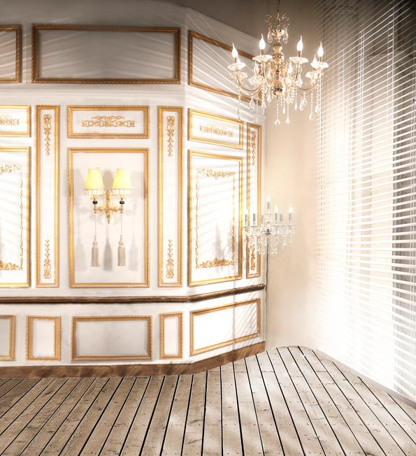 Wood Frame Wall 8x12ft light shutter window golden frame wall wooden floor wedding