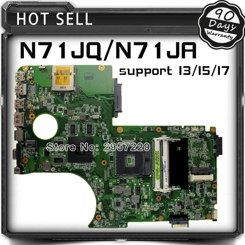 Original N71J N71JQ motherboard For Asus N71JA REV2.0 Mainboard Support i3/i5/i7 Processor HD5730 1GB 216-0772003 100% Tested wavelets processor