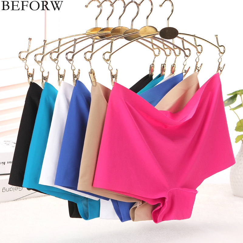 BEFORW Sexy Seamless   Panties   Boyshort Comfortable Ice silk Underwear women Fashion Solid Elasticity Mid-Rise Women Thong   Panties