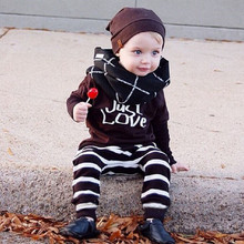 Infant Baby Boys Clothing Sets 2017 Autumn Cotton Tops Tees T shirts Pants 2pcs Striped Kids Sets Boy Children Clothing hsp114