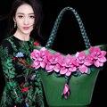 2017 de alta calidad de LA PU de cuero grande 3 D flor totalizador de las mujeres bolsa de hombro femenino bolsa de phalaenopsis