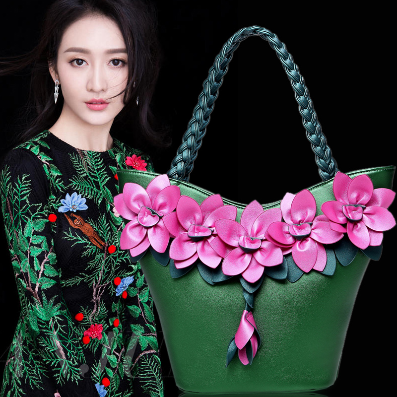 2017 high quality PU leather big 3 D flower women tote bag female shoulder bag phalaenopsis bag