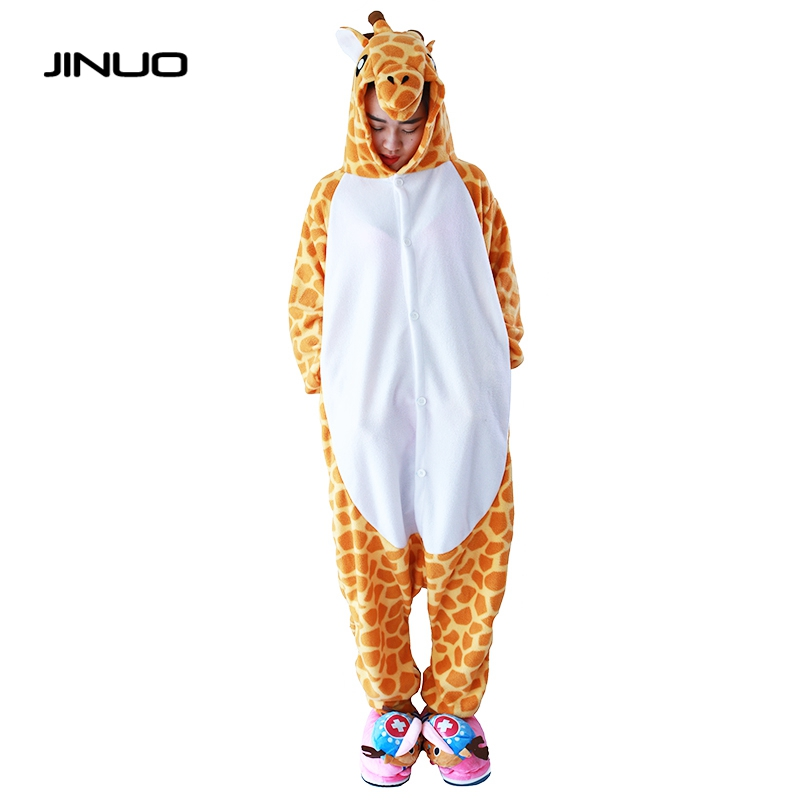 JINUO Polar Fleece Giraffe Girls Footed Onesies Animal Footie Pajamas Cosplay Christmas Halloween Costumes For Ault
