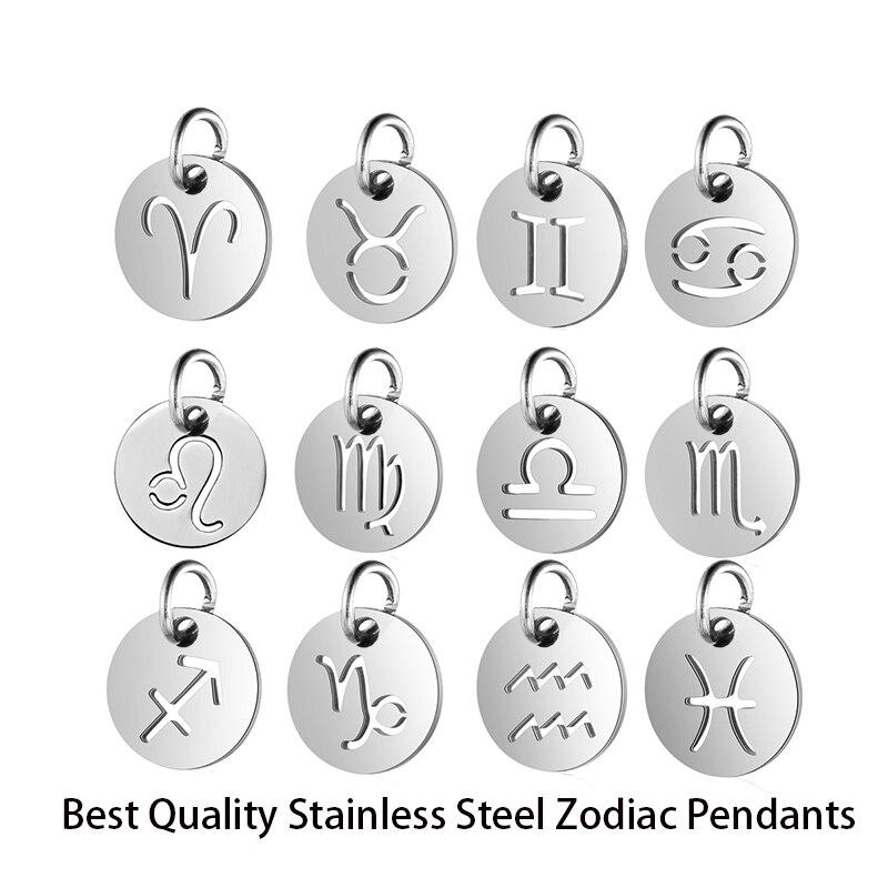 120pcs lot Wholesale Twelve Constellations Pendants Total 10sets 10pcs Per Sign DIY Zodiac Charm Stainless Steel