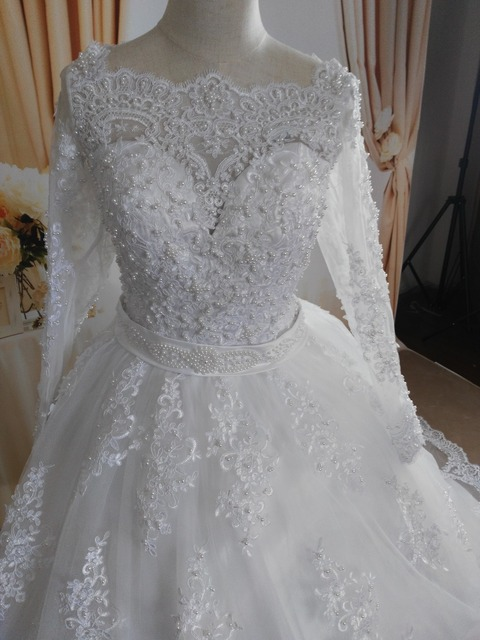 ZJ9131 2019 White Ivory Elegant Ball Gown Pearls Wedding Dresses for brides Lace sweetheart with lace edge Plus Size 6