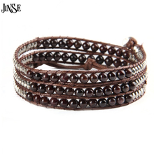 Wax Cord/Leather Bracelet,6mm Tiger Eye/Agate/Turquoise/Garnet/Amethyst Beaded 4 Wraps Bracelets unique faux turquoise decorative leather bracelet