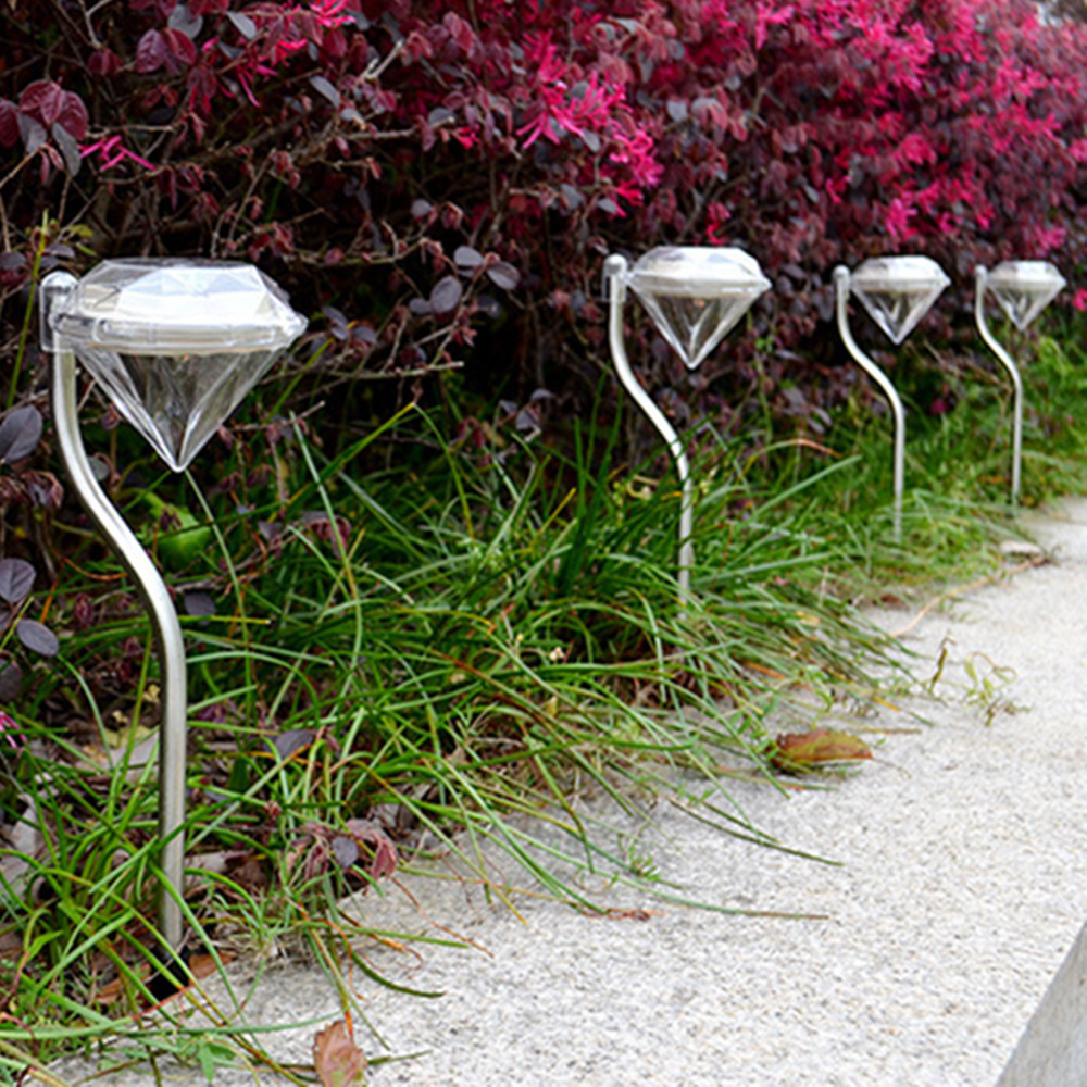 Modern Outdoor Solar Power LED <font><b>lights</b></font> Path Wall Landscape Mount bar cafe Glow <font><b>lights</b></font> Garden Fence Lamp white Diamond <font><b>lights</b></font>