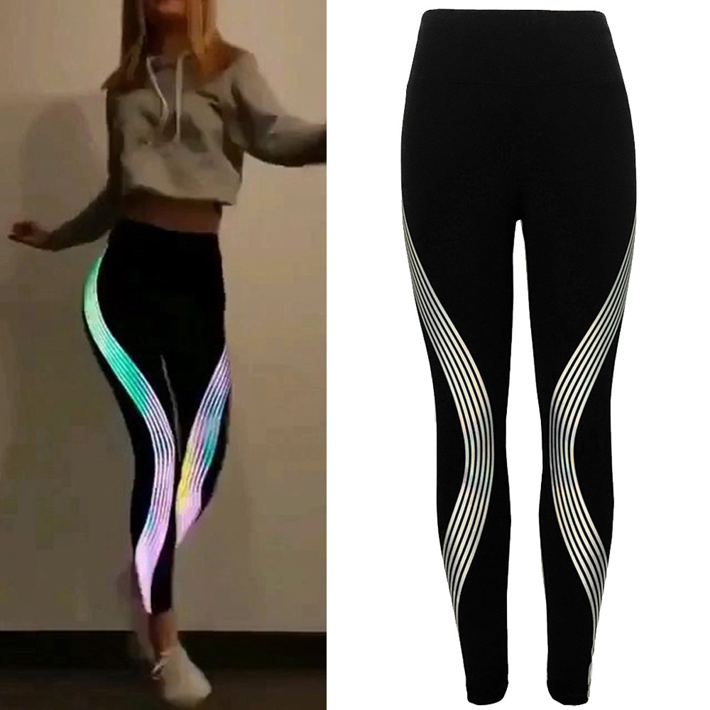 Leggings Women Neon Rainbow Leggings Fitness Sports Gym Running Athletic Pants Women Clothes 2019  Leggins Mujer