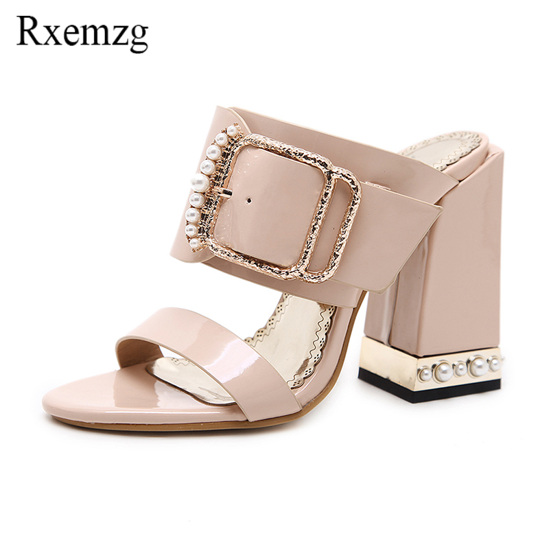 Rxemzg big size women shoe 2018 new chunky high heels summer sandals open toe fashion pearls buckle strap casual slippers pink 2018 new women sandals summer classic ankle buckle strap chunky sequins heels casual open toe black pink khaki zapatos mujer