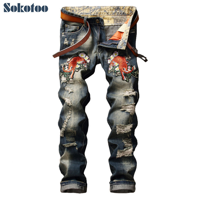 Sokotoo Men's Fashion Tiger Flower Embroidery Jeans Casual Holes Ripped Slim Denim Pants Long Trousers