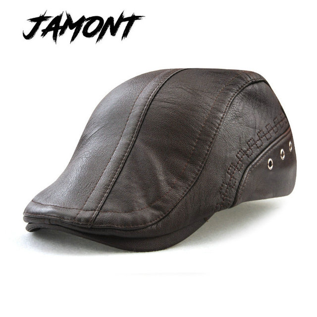 JAMONT  BARU PU Kulit Musim Gugur Musim Dingin Baret Topi Untuk Pria Faux  Topi af9419d02a