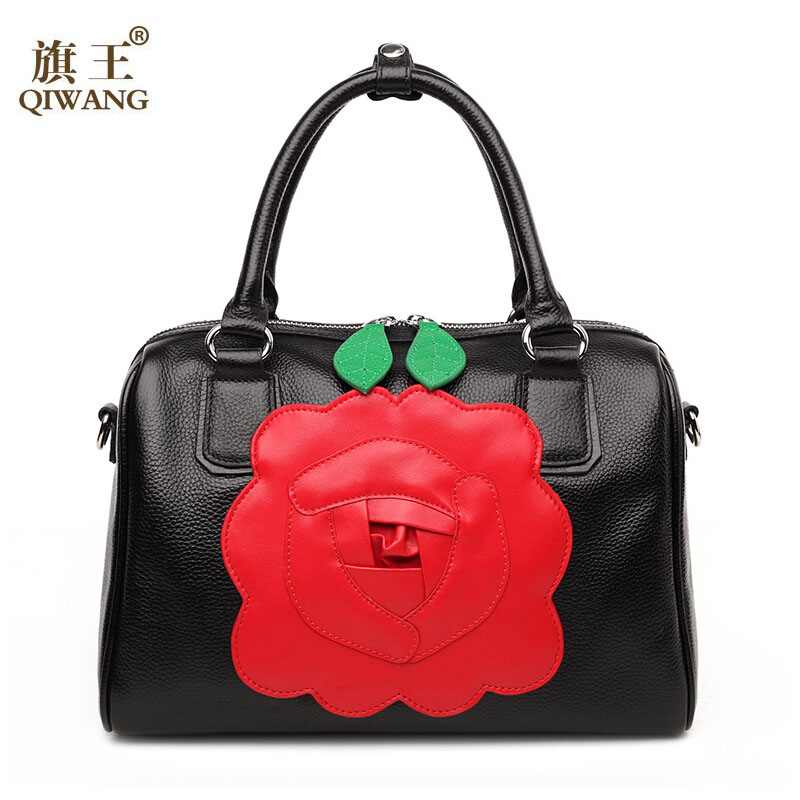 QIWANG women bag 2016 new genuine leather bag fashion green leaves red flower elegance boston bag