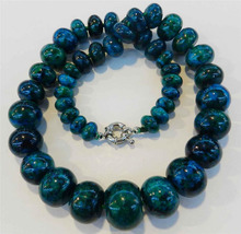 Shupping J0035 Encantador!! 10-20mm Azurita Phoenix Piedra Roundel Beads Necklace 5.6