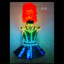 TC-64 Waiter Full color LED costumes colorful light RGB women skirt dj bar wears led ballroom dance bra programming sexy dress