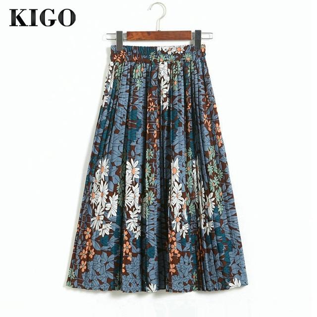 Kigo primavera vintage impresión floral de bohemia de la falda de cintura alta falda plisada elástico de la cintura de las mujeres de boho falda saia femininakf0466h