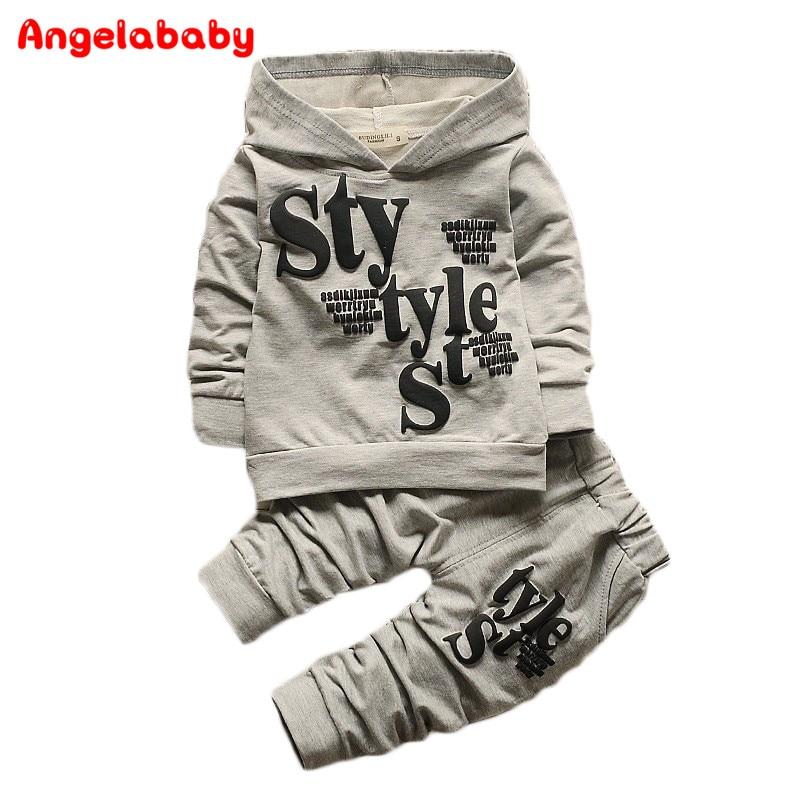 Baby Boy Kid Autumn Winter 2017 Children Clothing 2pcs Sets Hooded Coat+pants Letter Suit Fall Cotton Sport Tracksuit Outdoor