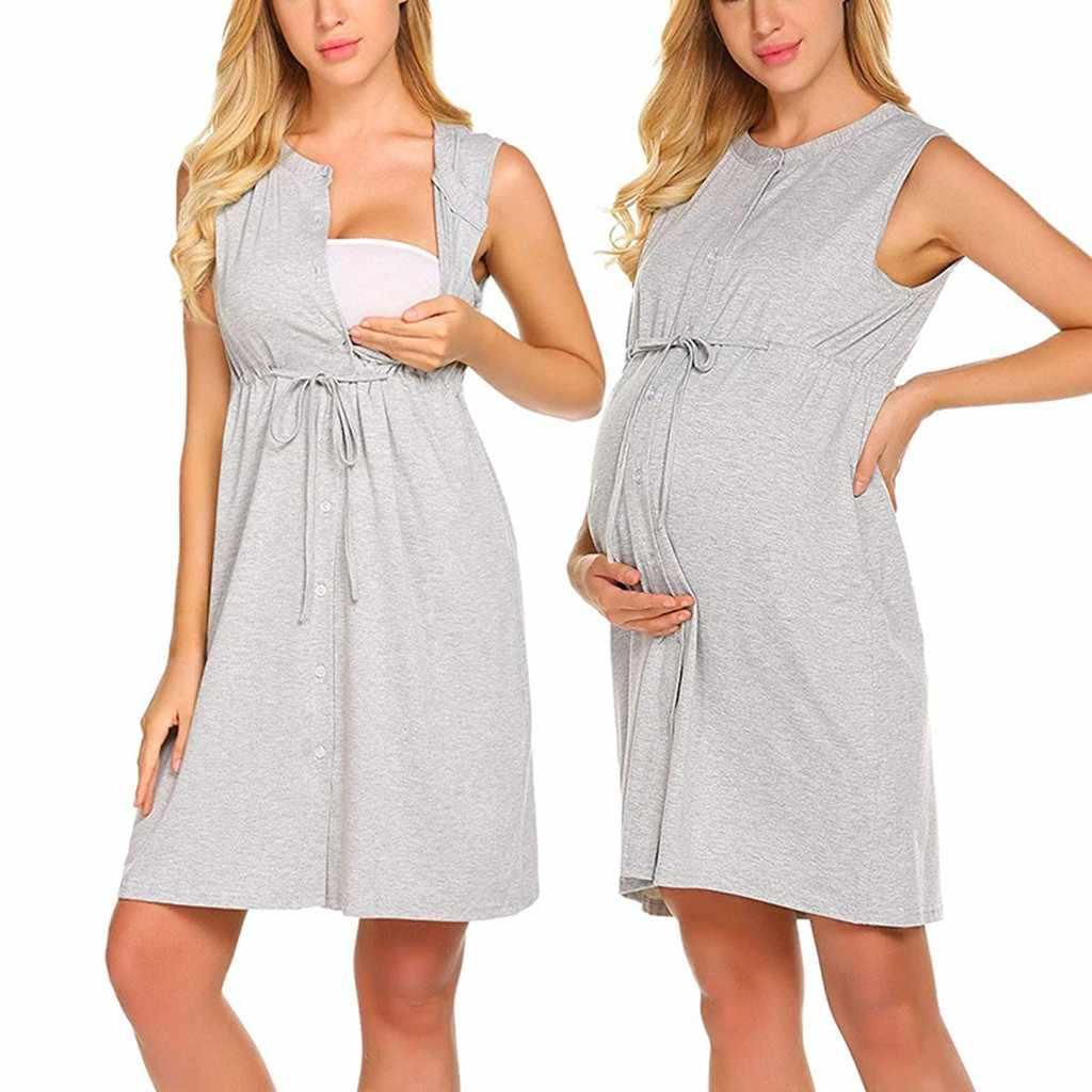 Платье для беременных, для кормящих платье Для женщин без рукавов для беременных доставки для кормления маленьких ночная рубашка халат для кормящих женщин Vestidos штук; # A