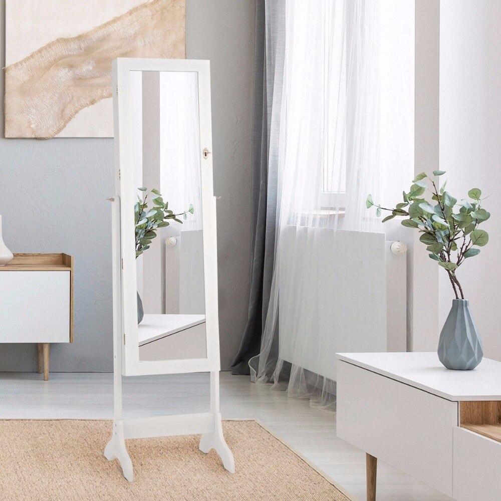 Giantex Lockable Mirrored Jewelry Cabinet Armoire Storage Organizer Box W/ Drawers White Home Furniture HW58853WH