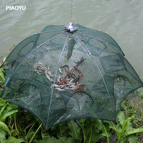 4 12 buracos guarda chuva automatico gaiola camarao rede de pesca de nylon dobravel caranguejo