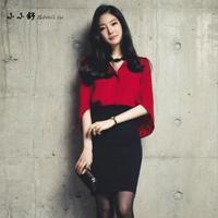 2 Pieces Sets Sexy Office Red Cloak Chiffon Shirt Tops Bandage Black Pencil Skirts Vintage Womens Dresses Vestido De Festa 2017