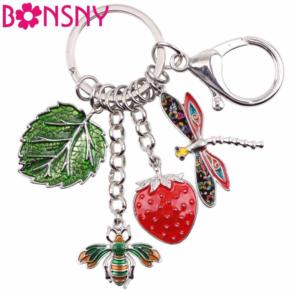 Bonsny Hawaii Tropic Summer Collection Alloy Bee Strawberry Dragonfly Leaf Car Key Chains For Women Handbag Purse Charms Keyring