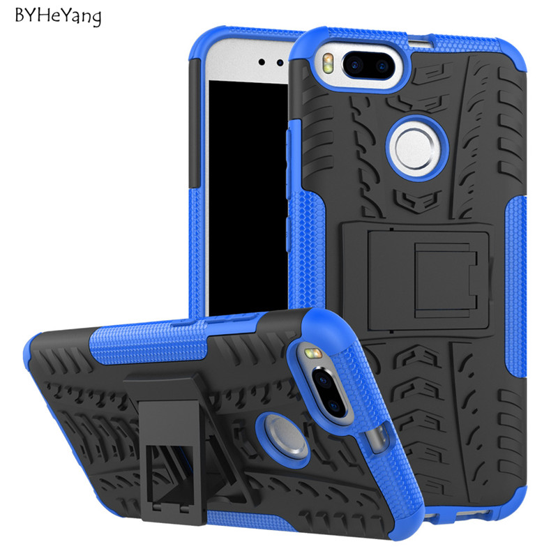 BYHeYang For Xiaomi Mi A1 Mi5X Case Shockproof Hybrid Rugged TPU Armor Silicone Stand Hard Case For Xiaomi 5X Mi 5X Back Cover