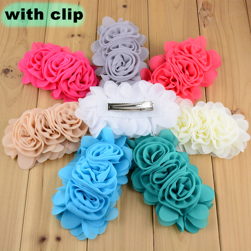 50pcs 14cm*8.0cm DIY Chiffon Rosette Flower WITH CLIP for Women Girl Hair Accessories Cartoon Character Costumes 22 Colors FC102